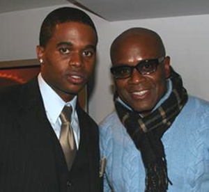 Razah (left) with Island/Def Jam CEO, L.A. Reid.